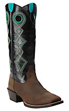 Ariat Men's Distressed Brown with Shiny Black Top Sport Buckaroo Square Toe Western Boots