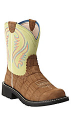 Ariat Fatbaby Women's Distressed Brown Gator Print with Lime Top Western Boot