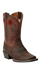 Ariat Youth Brown Oiled Rowdy Roughstock Square Toe Western Boot