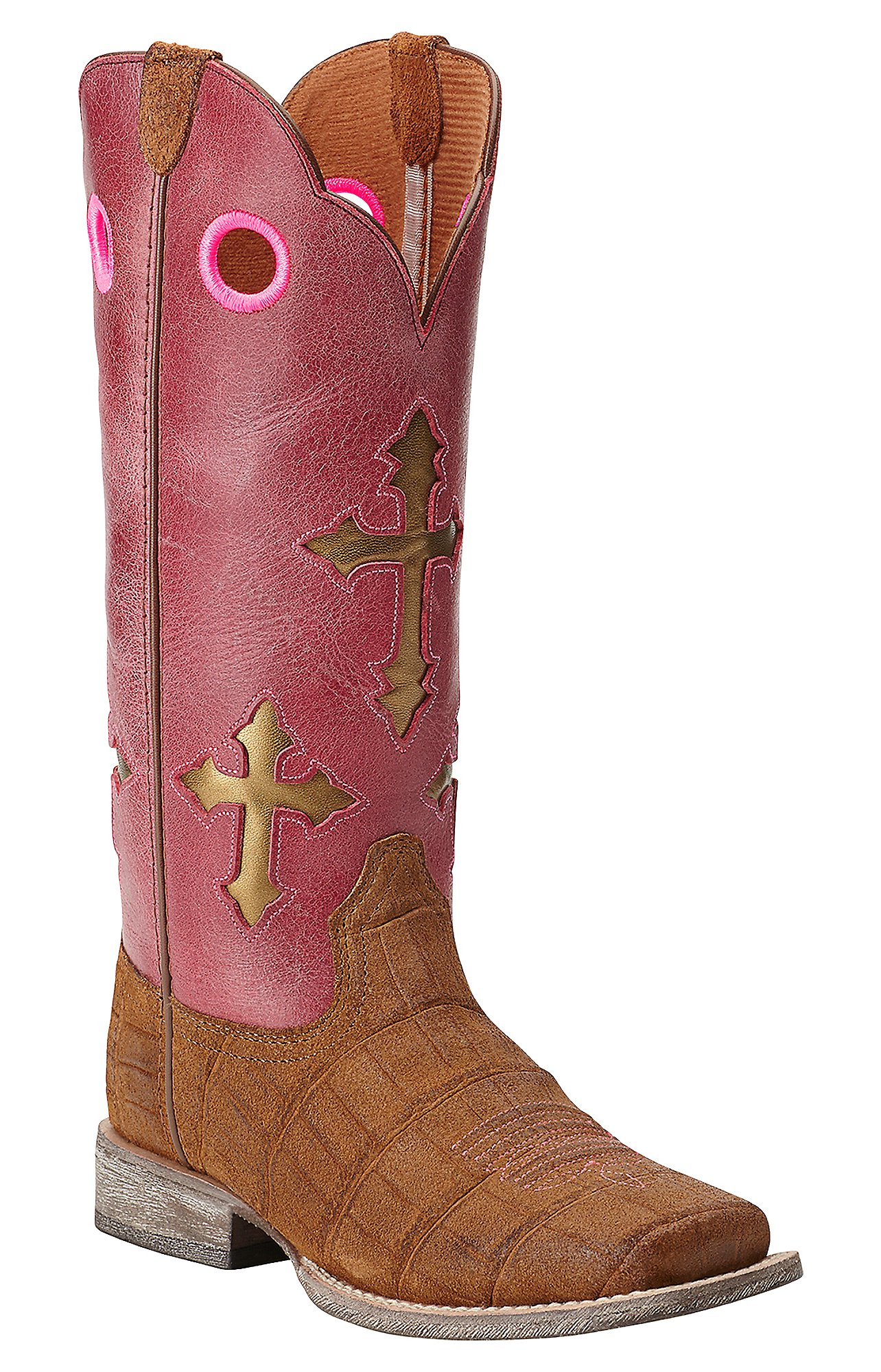 Ariat Kids Ranchero Distressed Brown Gator Print with Watermelon ...