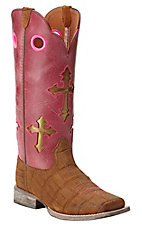 Ariat Kids Ranchero Distressed Brown Gator Print with Watermelon Cross Top Square Toe Western Boots