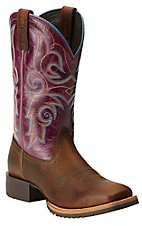 Ariat Women's Hybrid Rancher Brown Oiled Rowdy with Fig Top Square Toe Western Boots
