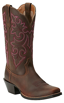 Ariat Women's Powder Brown Round Up Punchy Square Toe Western Boot