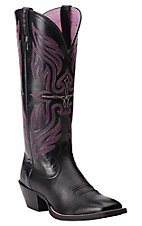 Ariat Women's Black Deertan Round Up Buckaroo Square Toe Western Boots