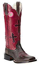 Ariat Ranchero Women's Textured Charcoal w/ Bling Pink Cross Inlay Top Double Welt Square Toe Western Boots