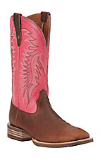 Ariat Men's Big Loop Brown Oiled Rowdy with Pink Top Double Welt Square Toe Western Boots