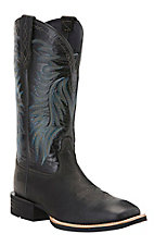 Ariat Men's Big Loop Pitch Black Double Welt Square Toe Western Boots