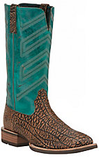 Ariat Men's Short Go Savannah Brown Elephant Print with Blue Top Square Toe Double Stitched Western Boots