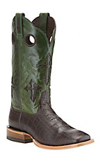 Ariat Ranchero Men's Chocolate Gator Print w/ Green Cross Top Double Welt Square Toe Western Boots