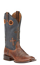 Ariat Ranchero Men's Adobe Clay with Crosses on Black Top Square Toe Western Boot