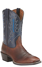Ariat Sport Outfitter Men's Fiddle Brown with Arizona Sky Double Welt Square Toe Western Boots