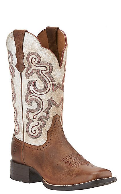 1746574916f Ariat Quickdraw Women's Sandstorm Brown with Distressed White Top Square  Toe Western Boots