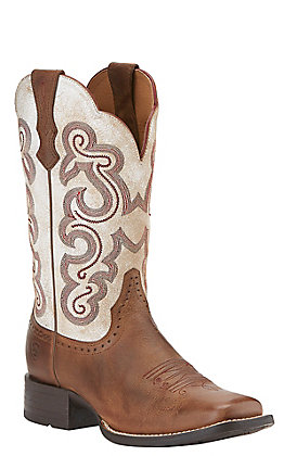 Ariat Quickdraw Women's Sandstorm Brown with Distressed White Top Square Toe Western Boots
