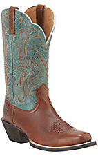 Ariat Women's Legend Vintage Caramel with Piney Woods Top Punchy Square Toe Western Boots