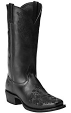 Ariat Women's Ardent Black with Floral Embroidery Punchy Square Toe Western Boots