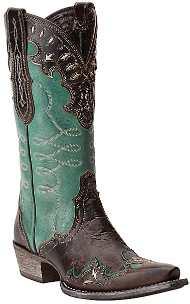 Ariat Women's Zealous Barnwood & Teal Green Wingtip Snip Toe ...