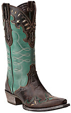 Ariat Women's Zealous Barnwood & Teal Green Wingtip Snip Toe Western Boots