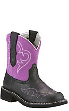 Ariat  Fatbaby Heritage Harmony Women's Roughed Black with Fuchsia Top Fatbaby Western Boot