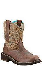 Ariat Women's Fatbaby Heritage Harmony Crackled Bay with Leopard Print Western Boot