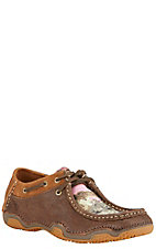 Ariat Rock Springs Women's Roughed Chocolate with Pink Camo Moc Toe Driving Casual Shoe