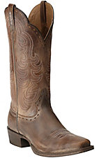 Ariat Women's Good Times Antique Brown Punchy Square Toe Western Boots