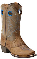 Ariat Roughstock Kids Aged Earth with Tan Top Square Toe Western Boots