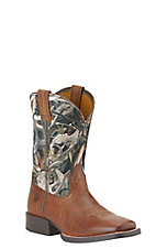Ariat Quickdraw Youth Brush Country Brown w/ Mini Bonz Top Square Toe Boots