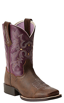 Ariat Quickdraw Kids Tombstone Vintage Brown with Plum Top Wide Square Toe Boots