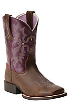 Ariat Quickdraw Youth Tombstone Vintage Brown w/ Plum Top Wide Square Toe Boots