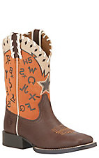 Ariat Kid's Pete Grained Russt with Brander Orange Top Square Toe Western Boots