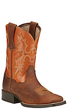 Ariat Tombstone Kids Powder Brown w/ Sunnyside Top Square Toe Boots