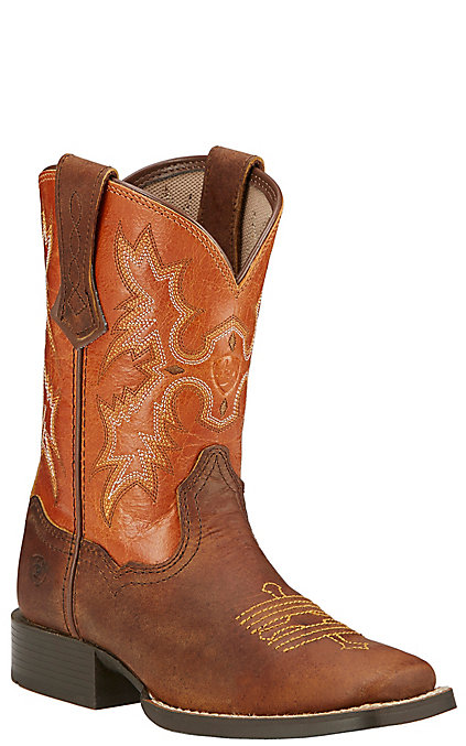 e1b03f44731 Ariat Tombstone Kids Powder Brown with Sunnyside Top Square Toe Boots