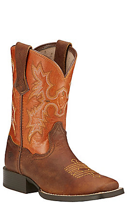 Ariat Kids Tombstone Powder Brown and Sunnyside Square Toe Western Boot