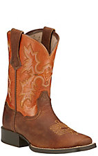 Ariat Tombstone Youth Powder Brown w/ Sunnyside Top Square Toe Boots