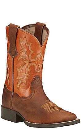 Ariat Youth Tombstone Powder Brown and Sunnyside Square Toe Western Boot