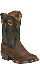 Ariat Roughstock Kids Distressed Brown with Black Top Square Toe Western Boots