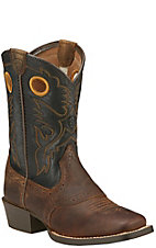 Ariat Roughstock Youth Distressed Brown with Black Top Square Toe Western Boots