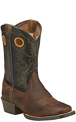 Ariat Youth Roughstock Distressed Brown with Black Top Square Toe Western Boots