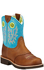 Ariat Fatbaby Youth Back Country Tan with Bright Blue Round Toe Boots