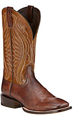 Ariat Hookin Horns Men's Weathered Buckskin with Golden Tan Top Double Welt Square Toe Western Boots