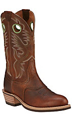 Ariat Heritage Roughstock Men's Brown Oiled Rowdy Round Toe Western Boots