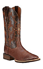 Ariat Tombstone Men's Antique Tobacco Smooth Quill Ostrich Exotic Square Toe Western Boot