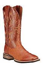 Ariat Tombstone Men's Brandy Smooth Quill Ostrich Exotic Square Toe Western Boot
