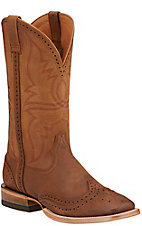 Ariat Men's Showman Crazy Tan with Wingtip Double Welt Square Toe Western Boots