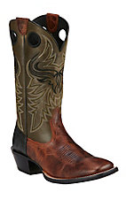 Ariat Wild Ride Men's Brush Creek Brown with Green Top Double Welt Square Toe Western Boots