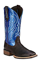 Ariat Men's Fast Time Coffee Cowboy with Blue Hurricane Top Double Welt Square Toe Western Boots