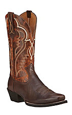 Ariat Bronc Buster Men's Bitter Brown with Tan Top Double Welt Punchy Square Toe Western Boots