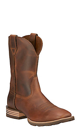 Ariat Hybrid Street Side Men's Powder Brown Double Welt Square Toe Western Boots