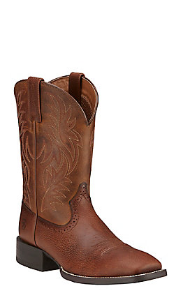 Ariat Sport Men's Fiddle Brown Double Welt Square Toe Western Boots