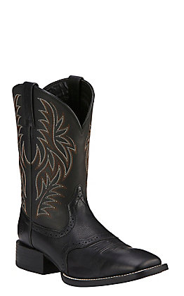 Ariat Men's Sport Black Wide Square Toe Western Boots